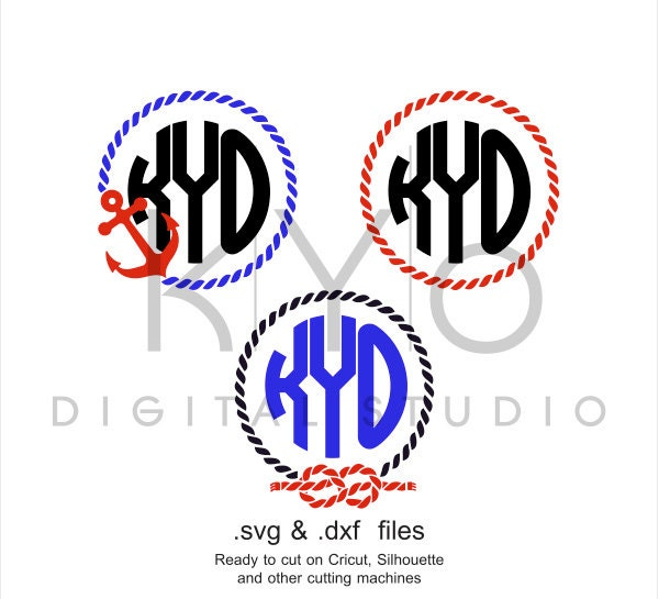 Rope Monogram SVG Cutting File Anchor Rope Monogram Frame