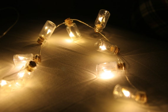 Miniature glass bottle fairy lights by islajaynecrafts on etsy for Glass bottles with lights in them