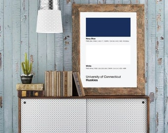 Uconn Huskies Pantone Poster - University of Connecticut - Print, Boyfriend Gift, Fathers Day Gift - College Student Gift