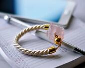 Rose quartz bracelet, rose quartz, rope bracelet, crystal bracelet, pink bracelet, January Birthstone, healing, gift for her, raw stone