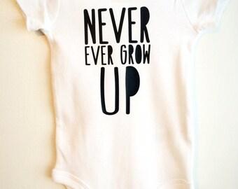 Never Grow Up Baby ONESIE ®, Baby Bodysuit, Cute Baby ONESIE ®, Trendy Baby, Hipster Baby, Modern Baby
