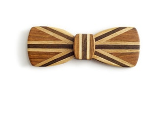Batwing Wood Bow Tie - Union Jack