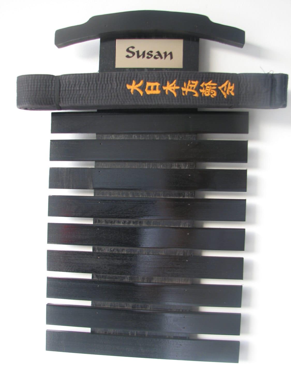 10 Level Black Martial Arts Belt Display