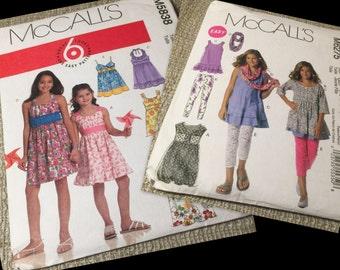 Girls dress, scarf and legging sewing pattern LOT pattern McCalls Sizes 7 8 10 12 14 (Complete Original Uncut) TWO girls patterns