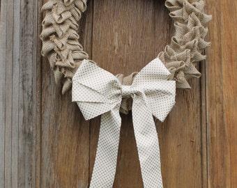 Pleated Burlap Wreath, Fall Wreath, Anytime Wreath, Natural Wreath, Rustic Wreath, All Seasons Wreath, Front Door Wreath, Burlap, Autumn