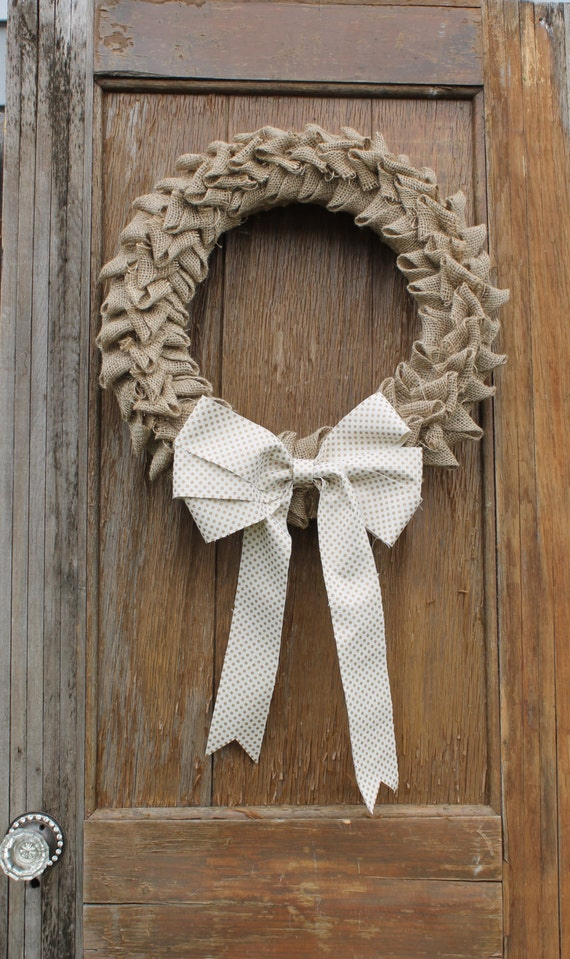 Pleated Burlap Wreath, Fall Wreath, Anytime Wreath, Autumn Wreath, Natural Wreath, Rustic Wreath, All Seasons Wreath, Front Door Wreath