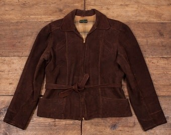 Vintage 1960's Talon Montgomery Ward Brown Suede Jacket Womens S / Size 8 R2893