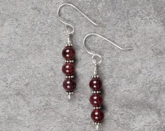Garnet and Sterling Silver Drop Earrings (052)
