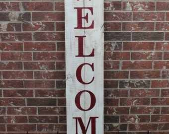 """Welcome Sign For Front Door, 60"""" X 11"""", Wood Sign, Front Porch Sign, Welcome Sign, Fence Wood Welcome Sign, Fence Welcome Sign, Welcome"""