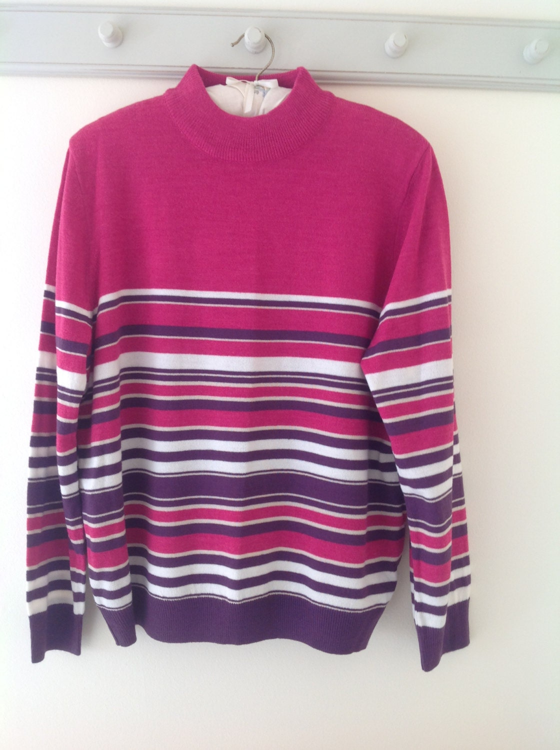 Ladies jumper 90's pink sweater striped jumper turtle