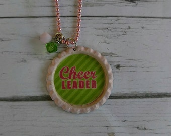Girls Sports Jewelry// Bottlecap Necklace// Cheerleader Jewelry// Cheerleading Gift// Cheer Party Favor