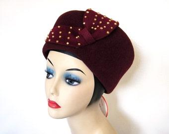 Vintage Studded Velour/Felt Toque Style Hat ~ Jack McConnell Boutique~ NOS