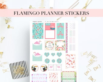 FLAMINGO Printable Planner Stickers / Scrapbooking labels / Paper craft supplies / Erin Condren / Mambi Happy Planner / Kikki K / Filofax