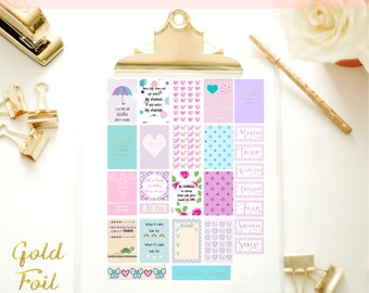 GOLD FOIL Pink & Purple Pastel Premium Printable Planner Stickers / Journal Cards / Scrapbook Labels