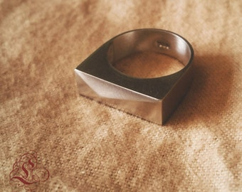 Sterling silver faceted box ring