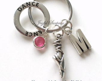 Ballet Slipper Keychain, Dancer Key chain, Pointe Shoe Keyring Gift for Ballerina Dance Purse charm planner Jewelry Letter initial teen girl