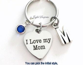 I love my Mom KeyChain Gift for Mom Keyring New Mom Mother Mum Key chain Initial Birthstone birthday Christmas present purse charm planner
