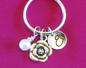 Valentine's Day Gift for Mom, Flower Keychain, Rose Key Chain, Small Floral Keyring, Silver Peony Jewelry Initial Birthstone Mother pearl