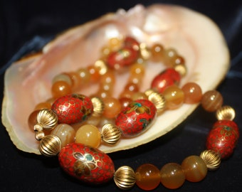 50's, Agate, Cloisonné, Beaded, Necklace, Cloisonne, Jewelry, Beads, Red, Orange, Stone, Gemstone, Metal, Sphere, Estate, Antique, Oval