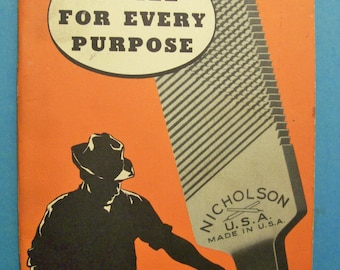 Vintage NICHOLSON U.S.A. booklet - Instructions for Use and Care - A file for every purpose