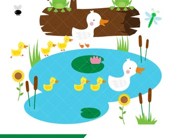 Clip Art Pond Clipart pond clipart etsy duck mother and ducklings clip art