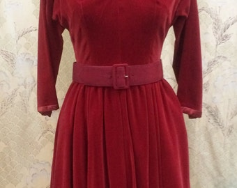 SALE: Was 98 now 82! 1950s Red Velvet Party Dress by Jonathan Logan