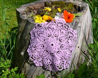 Crochet doily / lace / light violet / 10.5 inches (26 cm)/ round