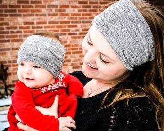 Dark Gray Jersey Knit Stretch Headwrap- Baby Headwrap/Headband-Adult Headwrap/Headband
