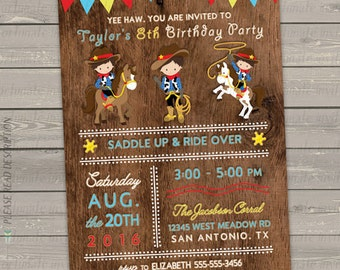 cowboy invitation, cowboy birthday invitation printable, western invitation, kids birthday party invitation digital or printed invites
