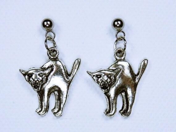 Earrings CAT/Puma-silver-coloured studs in stainless steel-mountain lion Halloween black Cat earrings jewelry pendant earrings