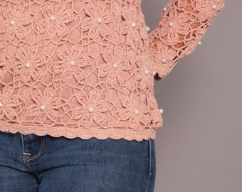 1980s Vintage Crocheted Silk Pullover Sweater