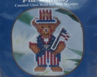 Mill Hill Pin Whimsy Teddy USA Counted Glass Bead Kit