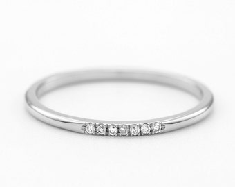 Delicate Diamond Wedding Ring / Pave Eternity Ring / 925 Sterling Silver