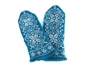 Handknit Merino and Cashmere Fair Isle Mittens