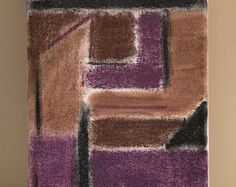 Purple, brown & black pastels, 8x16