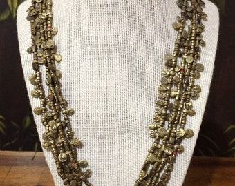 27'' 4 Strand Brass Necklace