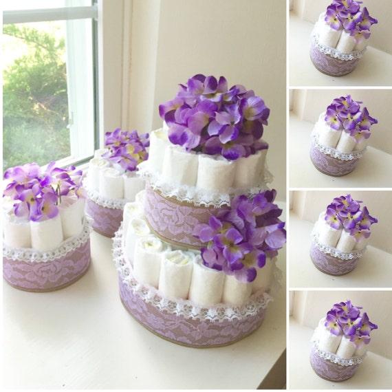 Purple Flower Diaper Cake Centerpieces. Baby shower