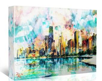Chicago Painting, Skyline Canvas, City Artwork