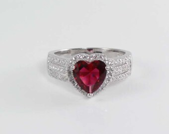 Ruby Sterling Silver Ring / Ruby Ring Silver / July Birthstone