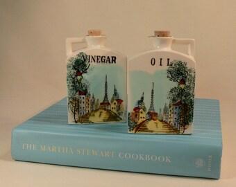 Vintage Oil & Vinegar Cruet SET Handpainted Eiffel Tower PARIS Street Scene JAPANESE Porcelain