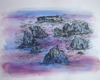 Rocks on the Water - Original Drawing