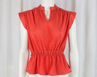 Super cute Vintage Orange polka dot fitted top! 70's 80's