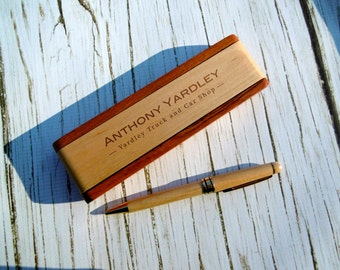 Personalized Pen Case with Pen, Custom Pen Box, Pen Holder, Wood Pen Case, Pen Set, Engraved, Father's Day, New Job, Graduation,Gift for Him