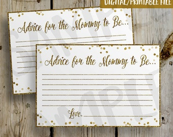 PRINTABLE Gold Glitter Confetti Baby Shower Advice Card -  DIY Instant Download Mommy Advice Card Digital File Shower Invitation Enclosure