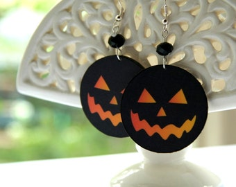 Halloween earrings, Pumpkin earrings, black and orange, scary earrings, black pumpkin