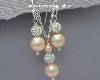 Peach Pearl Bridesmaid Jewelry Set, Pearl Wedding Jewelry Set, Bridesmaid Gift, Maid of Honor Gift, Bridal Party Jewelry Set