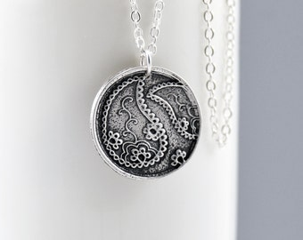 Paisley Necklace Groovy Retro Silver Pendant Sterling Silver Necklace Paisley Jewelry Bohemian Jewelry Gift for Her Handmade Boho Jewelry