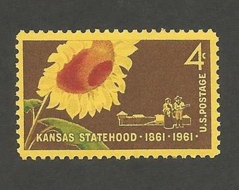 10 Kansas Statehood Sunflower Vintage Postage Stamps, 4 Cents, Unused # 1183