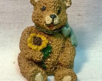 """Handpainted """"Mini Bear"""" Holding Flower Bear"""