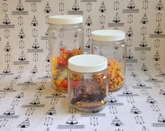 Bright White+Air Tight~Set of 3~Golden Harvest Canisters~White Plastic Screw on Lid~Kitchen Storage Jars